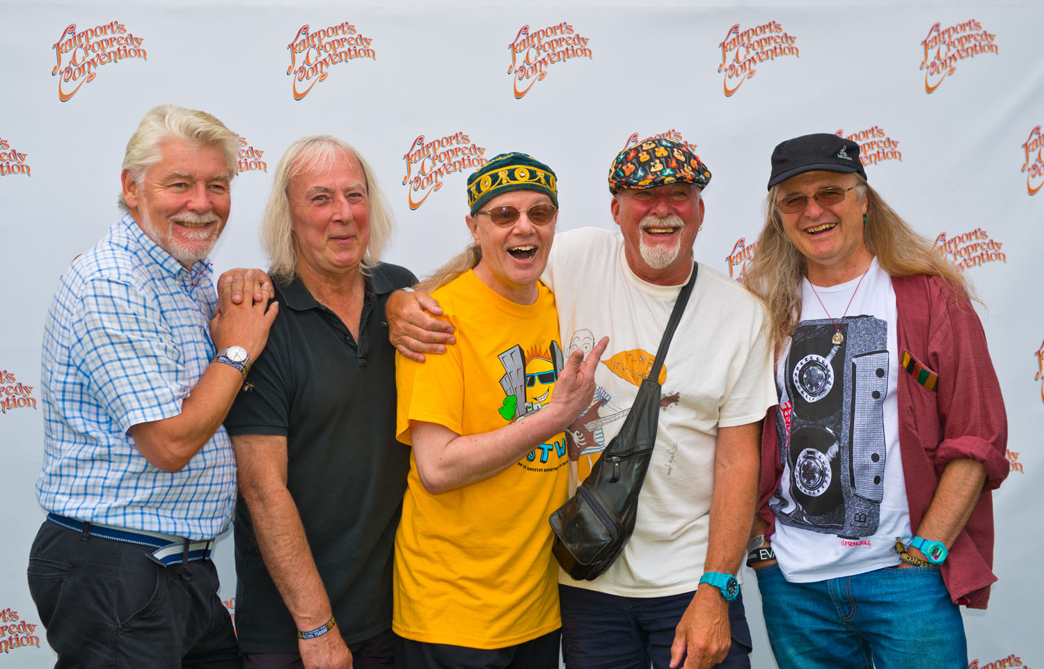 Fairports Cropredy Convention Festival 2016: Fairport Convention backstage prior to the start of the festival on the Thursday night.